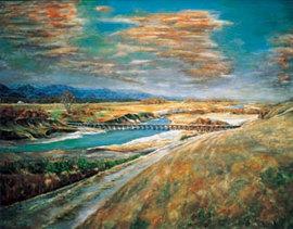 <p>HP掲載作品の紹介 『希望』<br /> (熊谷市久下の旧久下橋を描いた作品)</p>
