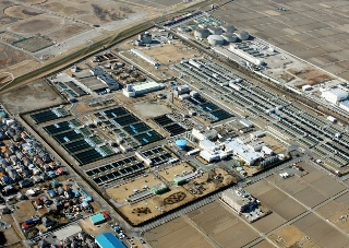 <p>写真:空から見た大久保浄水場<br /> (提供:埼玉県企業局大久保浄水場)</p>